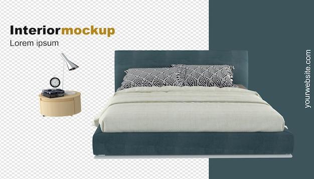 Rendu 3d de maquette de lit et de bureau