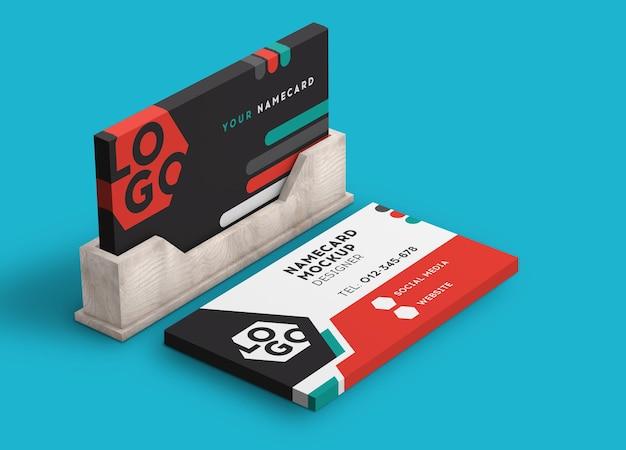 Rendu 3d de maquette moderne de pile de carte de visite