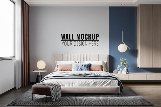 rendu 3d de maquette de mur de chambre à coucher intérieure
