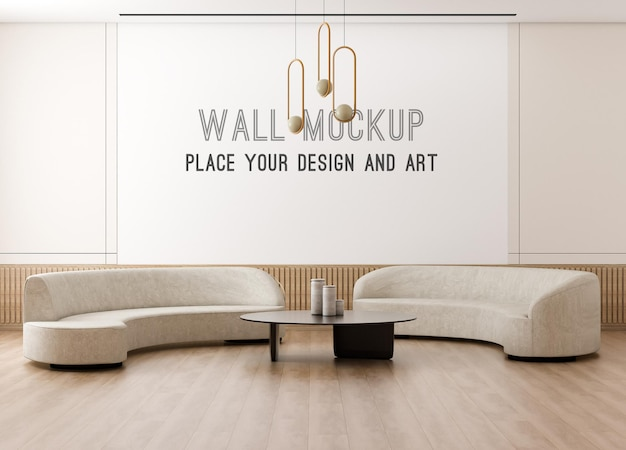 Rendu 3d de maquette de mur dans le mur beige avec le salon scandinave
