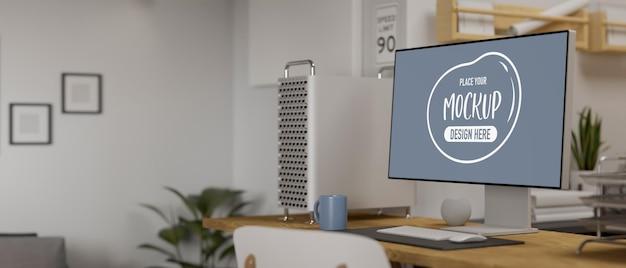 Rendu 3d d'une maquette d'ordinateur avec des fournitures de bureau
