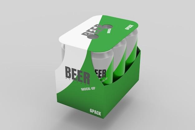 Rendu 3d de maquette de pack de bière