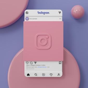 Rendu 3d de maquette de publication de médias sociaux instagram