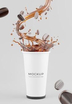 Rendu 3d de la maquette de tasse de café réaliste avec des éclaboussures de café pour l'affichage du produit