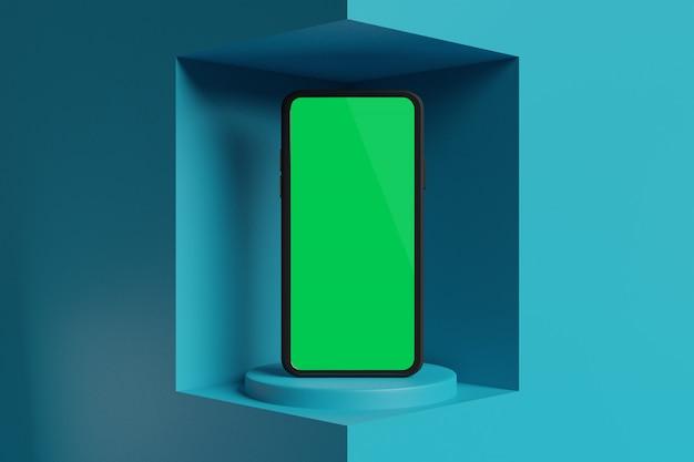 Rendu 3d de maquette de téléphone portable pour la publicité de créateur de scène