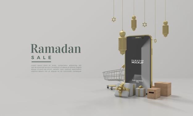 Rendu 3d de maquette de vente de ramadan avec des lumières suspendues