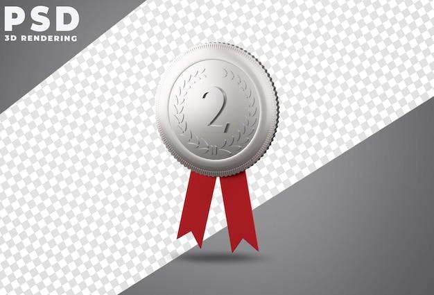Rendu 3d de la médaille d'argent de la deuxième place
