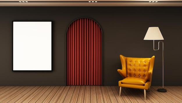 Rendu 3d minimaliste moderne de conception de salle de séjour