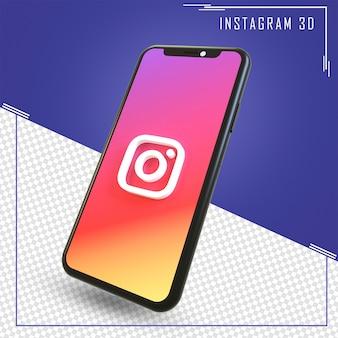 Rendu 3d de mobile avec icône instagram isolé