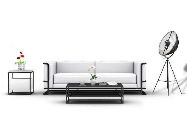 Rendu 3d de mobilier et de décorations de studio.