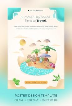 Rendu 3d, modèle d'affiche hello summer, avec illustration cocotier et plage parapluie