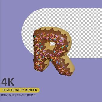 Rendu 3d modélisation d'objet beignet lettre alphabet r conception