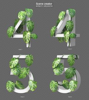 Rendu 3d de monstera rampant sur le numéro 4 et le numéro 5