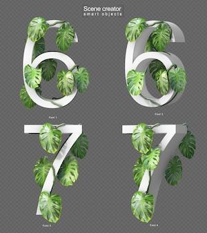 Rendu 3d de monstera rampant sur le numéro 6 et le numéro 7