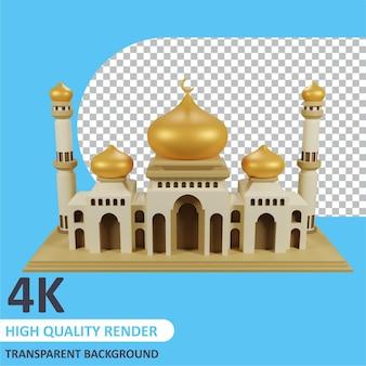 Rendu 3d de la mosquée d'or de la modélisation des personnages