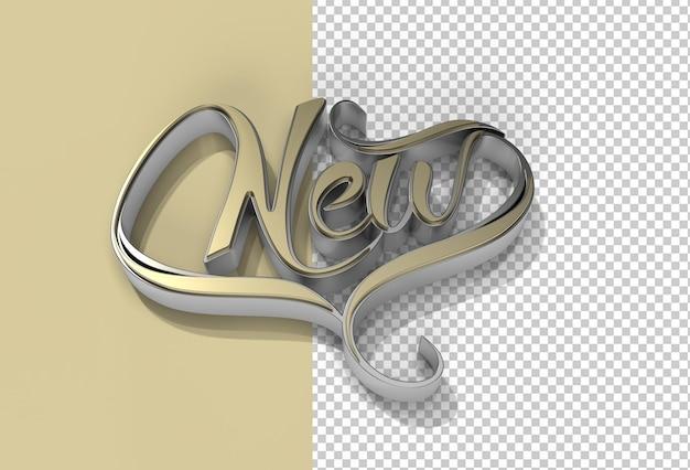Rendu 3d nouveau texte calligraphique transparent psd fichier.