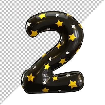 Rendu 3d numéro 2 deux ballons d'anniversaire