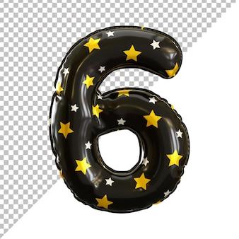 Rendu 3d numéro 6 six ballons d'anniversaire