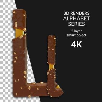 Rendu 3d des numéros de l'alphabet isolés
