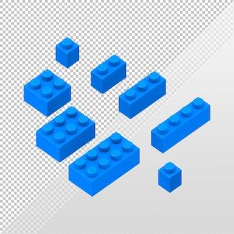 Rendu 3d oa ensemble de blocs de construction de jouets pour enfants