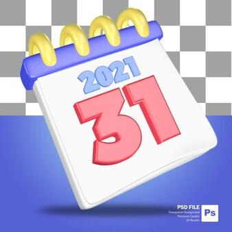 Rendu 3d de l'objet du calendrier de fin d'année en bleu et blanc avec le numéro 31 en rouge