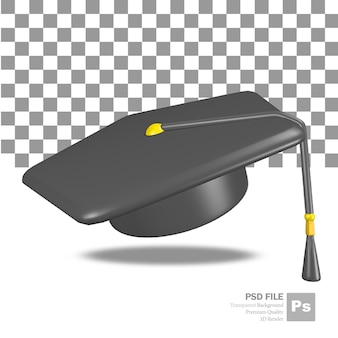 Rendu 3d de l'objet flottant de chapeau de graduation universitaire