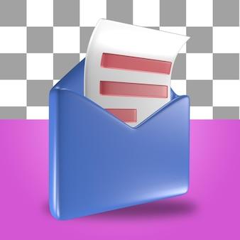 Rendu 3d de l'objet icône lettre enveloppe courrier bleu avec une feuille de papier de comptabilité financière