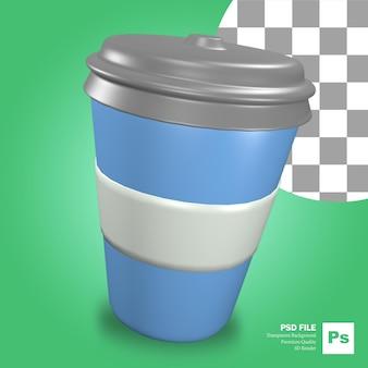 Le rendu 3d de l'objet icône verre tasse tasse bleue sur la restauration rapide