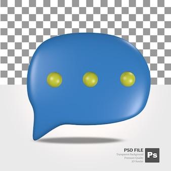 Rendu 3d d'objets d'icône de message bleu et jaune