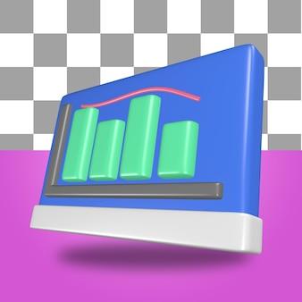 Rendu 3d d'objets d'icône de tableau de présentation avec visualisation de statistiques à l'intérieur d'infographies