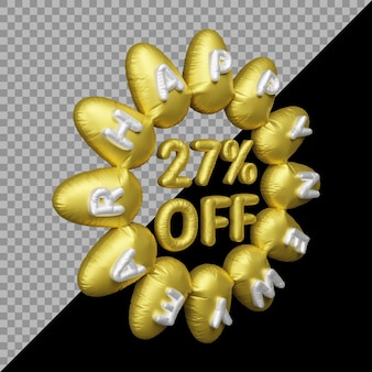 Rendu 3d de l'offre du nouvel an avec 27% de réduction sur l'or des ballons