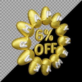 Rendu 3d de l'offre du nouvel an avec 6% de réduction sur l'or des ballons