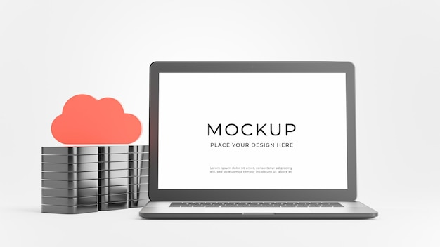 Rendu 3d d'un ordinateur portable avec concept de stockage en nuage pour l'affichage du produit