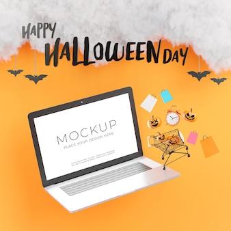 Rendu 3d d'un ordinateur portable avec une joyeuse journée d'halloween pour l'affichage de votre produit