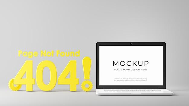 Rendu 3d d'un ordinateur portable avec une page d'erreur 404 non trouvée isolée