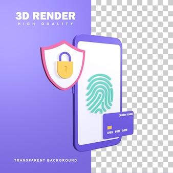 Rendu 3d paiement sécurisé utiliser l'empreinte digitale.
