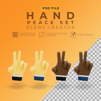 Rendu 3d de la paix de la main pour créateur de scène