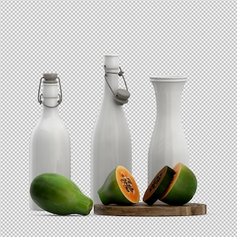 Rendu 3d de papaye