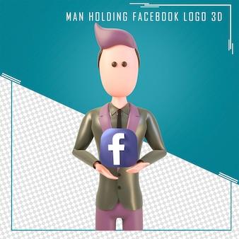 Rendu 3d d'un personnage tenant le logo facebook