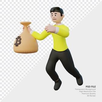 Rendu 3d de personne tenant le sac de bitcoin
