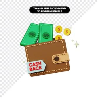 Rendu 3d de la pièce et du portefeuille en argent cashback