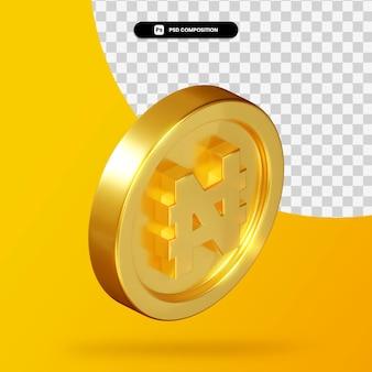 Rendu 3d de pièce de monnaie de naira d'or d'isolement