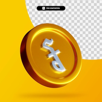 Rendu 3d de pièce de monnaie riel cambodgien doré isolé