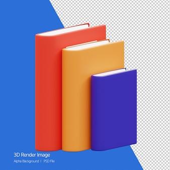 Rendu 3d de pile d'icône de livre isolé sur blanc.