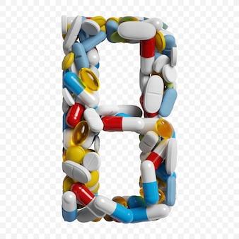 Rendu 3d de pilules et comprimés de couleur alphabet lettre b symbole isolé