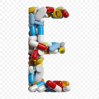 Rendu 3d de pilules et comprimés de couleur alphabet lettre e symbole isolé