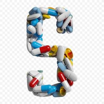 Rendu 3d de pilules et comprimés de couleur alphabet lettre s symbole isolé