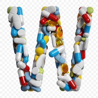 Rendu 3d de pilules et comprimés de couleur alphabet lettre w symbole isolé sur fond blanc