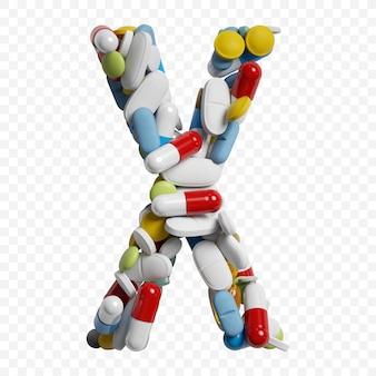 Rendu 3d de pilules et comprimés de couleur alphabet lettre x symbole isolé