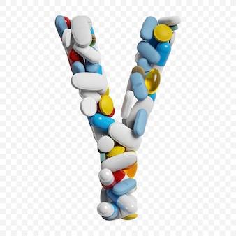Rendu 3d de pilules et comprimés de couleur alphabet lettre y symbole isolé
